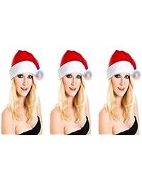 3 er Set Weihnachtsmütze Nikolausmütze Leuchtbommel Sant Hut Top Qualität X2