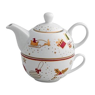 Brandani 53027Théière avec tasse Alleluia porcelaine Texture Noël Noël