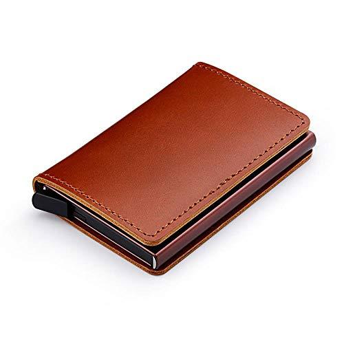 Brieftasche RFID-Blockierung Leder Kreditkartenetui Aluminium Metall Business Id Karteninhaber Slim Card Case Mini Geldbörse Für Männer, Braun