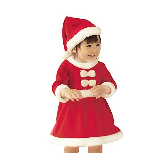 oamore Costume da Babbo Natale per Bambini Costume in Maschera per Feste di Natale (80cm, Girl)