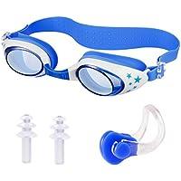 Lunettes de Natation pour Enfant - HOMCA Anti brouillard protection UV Lunettes de Piscine avec Bouchons d'oreilles et pince-nez idéales pour les jeunes enfants de 3 à 12 ans