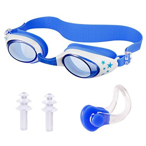 Gafas de Natación, HOMCA Swim Goggles Antiempañado y Anti Rayos UV Para Niños pequeños de 3 a 12 años con Tapones para los Oídos y Clip Nasal