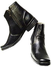Lee Men's Brogue Chelsea Boots Black Leather Boots
