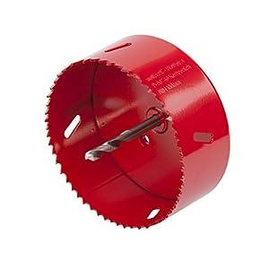 Wolfcraft 5493000 5493000-1 sierras de corona BiM completo con adaptador y broca piloto, profundidad de corte 40 mm diam, Rojo, Ø 100 mm