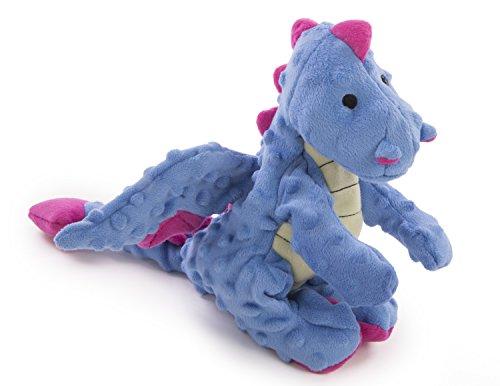 goDog Dragon with Chew Guard Technology Tough Plush Dog Toy, Large, Periwinkle