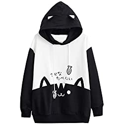 Sudadera con Orejas de Gato Casual Manga Larga Kawaii Sudaderas Adolescentes Chicas Tumblr Blusa Top Camisa