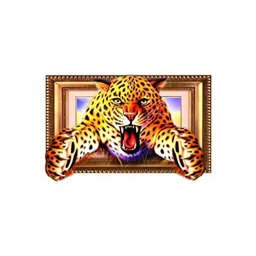 AOGOTO 3D Tier Leopard PVC Aufkleber Wandaufkleber Tapete Wohnzimmer Dekoration