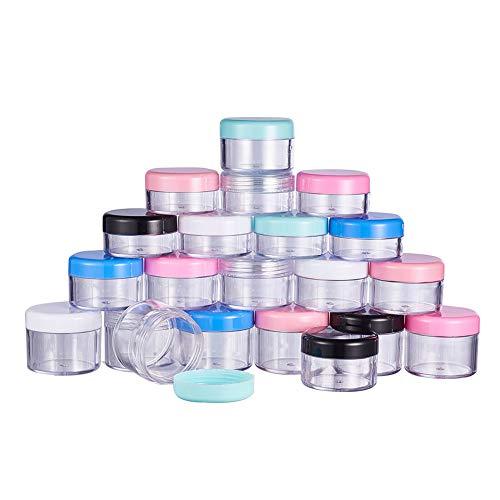 PandaHall Elite 21pcs 10g / 15g / 20g Durchsichtige Probenbehälter aus Kunststoff mit 7 gemischten Schraubdeckeldeckeln, Leere kosmetische Gesichtscreme mit 7 Stück Kunststoff-Stick