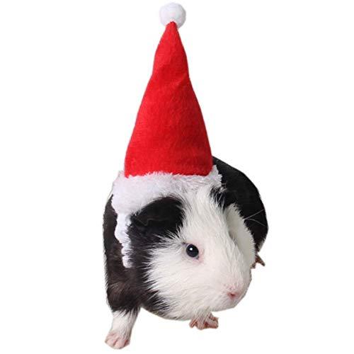 Kopf Hamster Kostüm - ANIAC Pet Weihnachten verstellbar Santa Hat für Hamster Meerschweinchen Kätzchen und Kleine Tiere weiß Band
