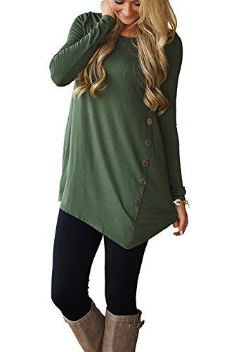 CoCo Fashion Herbst Sweatshirt Damen Langarm Shirt Casual Oberteil Asymmetrisch Shirt Tunika mit Zierknöpfe (EU M, Armeegrün) (Lange Ärmel Pullover Jersey)