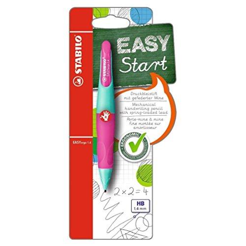 Ergonomischer Druck-Bleistift für Rechtshänder - STABILO EASYergo 1.4 in türkis/neonpink - inklusive 3 dünner Minen - Härtegrad HB
