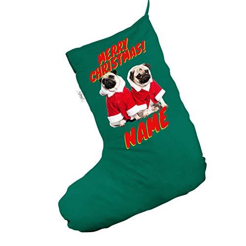 Kostüm Für Möpse - personalisierbar Santa Kostüm Möpse Jumbo grün