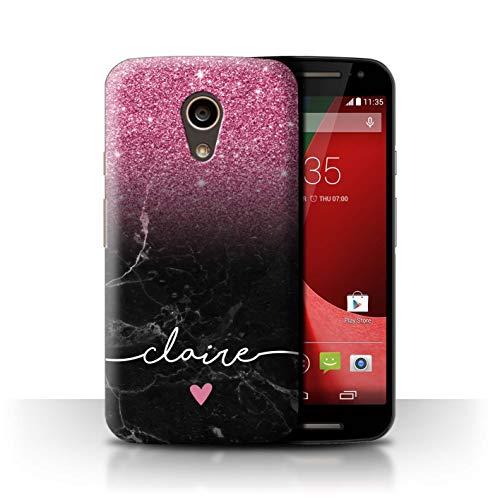 eSwish Personnalisé Ombre Pailleté Personnalisé Coque pour Motorola Moto G 4G 2015 / Marbre Noir Pailleté Rose Design/Initiales/Nom/Texte Etui/Housse/Case