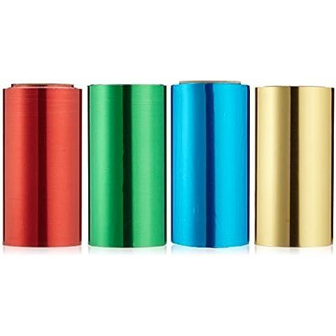Lámina de pelo EFALOCK conjunto de 4 rojo / verde / azul / amarillo 20 mis 12 cm x 50 m, 1er Paquete (1 x 4 piezas)