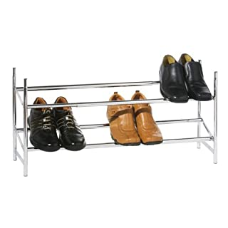 Premier Housewares 2-Tier Extendable Shoe Rack - Silver