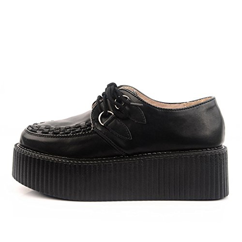 RoseG Femmes Cuir Lacets Plate Forme Gothique Punk Creepers Chaussures Noir