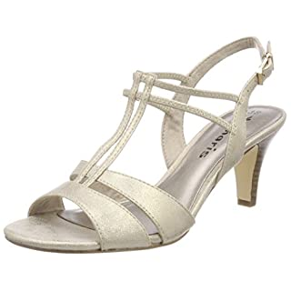 Tamaris Damen 28304 Slingback Sandalen, (Light Gold), 36 EU