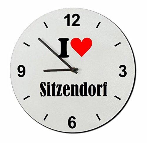 Druckerlebnis24 Exklusive Geschenkidee: Glasuhr I Love Sitzendorf eine tolle Geschenkidee die von Herzen kommt- Uhr- Weihnachts Geschenktipp