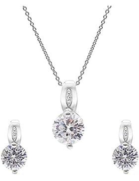Silverly Frauen, 925 Sterlingsilber runde Doppel Zirkonia Ohrstecker Halskette Set, 46cm