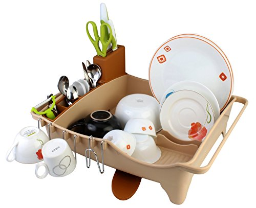 Multifunction Plastic Self-Draining Dish Bowl Cutlery Rack