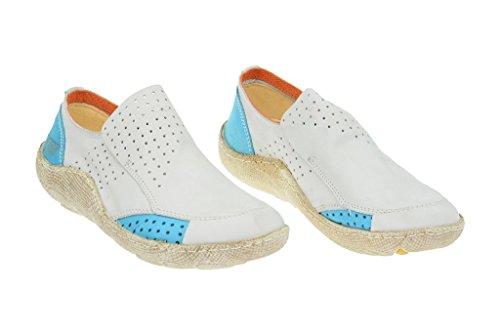 Good eject, mocassins e-16233 en cuir véritable, chaussures basses femme Blanc - Blanc