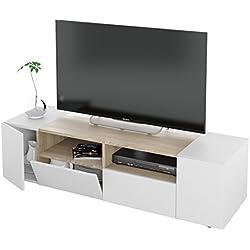 Habitdesign 0F6624A - Mueble de salon, modulo comedor Tamiko, acabado Blanco Artik y Roble Canadian, medida: 130 cm (ancho) x 34 cm (alto) x 40,2 cm (fondo).