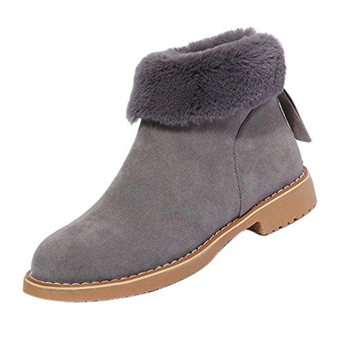 FEITONG Frauen Stiefel Damen Boots Winter Freizeit Wasserdicht Schuhe Anti-Slip Plüsch Stiefeletten Warm Reißverschluss Schuhe (CN:38=EU:37, Grau)