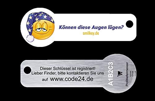 Code24 Einkaufswagenlöser Smilkey 'Können diese Augen lügen', Schlüsselanhänger mit Einkaufschip & Schlüsselfinder, inkl. Schlüsselfundservice Registriercode, Einkaufswagenchip mit Profiltiefenmesser