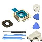 EWPARTS for Samsung galaxy S6 edge Hinter Kamera abdeckung Kamera Objektiv Abdeckung Ringe Glas + Aufklebers + Werkzeuge + Reinigungstuch (gold)