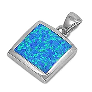 925 Sterling Silver Pendant With Lab opal Gem