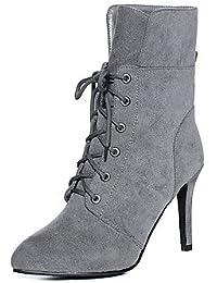 Heart&M Mujer Zapatos Semicuero Invierno Botas de Moda Botas Tacón Stiletto Dedo Puntiagudo Mitad de Gemelo Con...