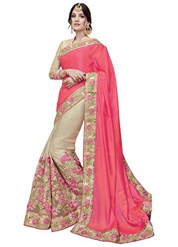 Sareeshop Silk & Georgette Saree (Lakshmi-4012A, Pink , Free Size)