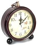Round Classic Retro Vintage European Style Desk Alarm Clock Home Decorative Clock Quartz Movement Battery Operated Easy to Read (Oak) (Dark Brown)