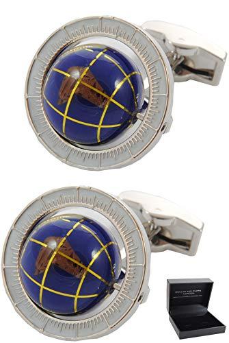 COLLAR AND CUFFS LONDON - Boutons de Manchette avec Boite-Cadeau - Grand Qualité - Globe Tournant - Laiton - Couleur Bleu - Rond Voyage Terre