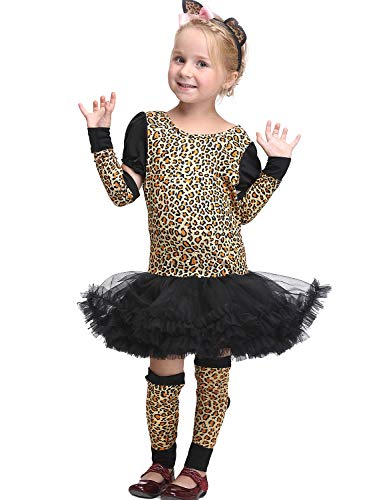 VENI MASEE Mädchen Leopard Dschungel Gepard Tier Cosplay Party Abendkleid Halloween Kostüm Set S-XL