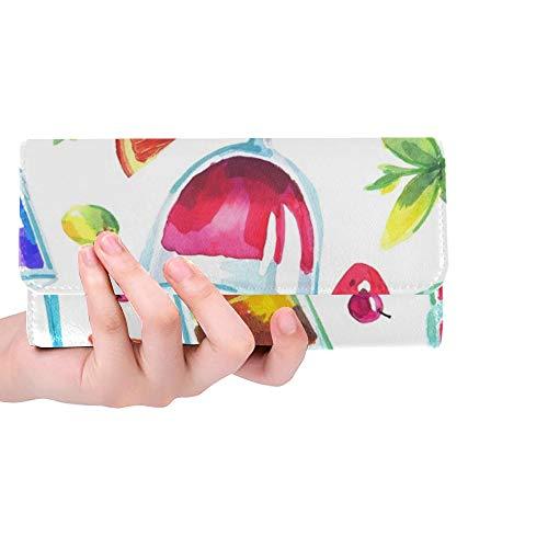 Einzigartige benutzerdefinierte Bunte Partei tropischen Frauen Trifold Brieftasche Lange Geldbörse Kreditkarteninhaber Fall Handtasche
