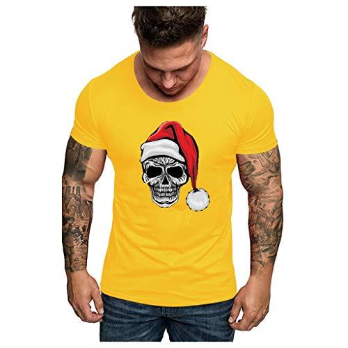 Aoogo Paar Weihnachten Short Sleeve Unisex Unisex Weihnachten Santa Print Kurzarm Bluse T Shirt Top Herren und Damen Weihnachten Print Short Sleeve Top