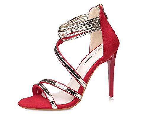 NobS Open-Toed Tacchi Alti Scarpe Donna Metallo Cinturino Alla Caviglia Abbinamento Di Colore Cerniera Sandali wine red