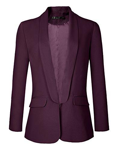 Urban GoCo Mujeres Blazers Chaqueta de Traje Slim Fit Elegante Oficina Negocios Outwear Medium, UVA...