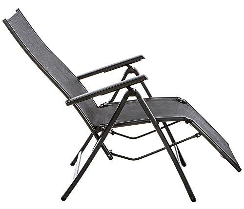 Baltico Aluminium Relax-Sessel mit Armlehne Gartenstuhl anthrazit, 73 x 60 x 112 cm Hochlehner zusammenklappbar