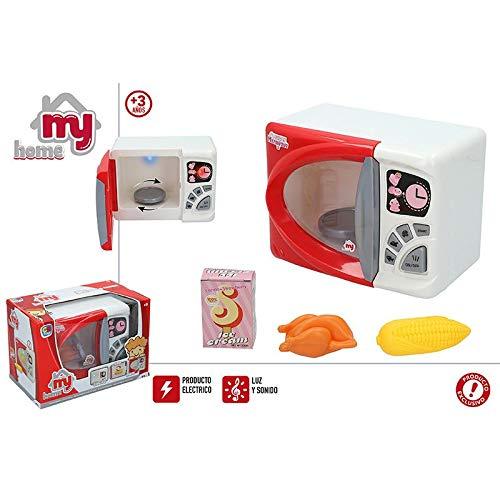 Hogar y Mas Microondas Eléctrico de Juguete para Niños de Color Rojo, con Sonidos, luz y Movimiento. Original/Moderno 225X140X170mm
