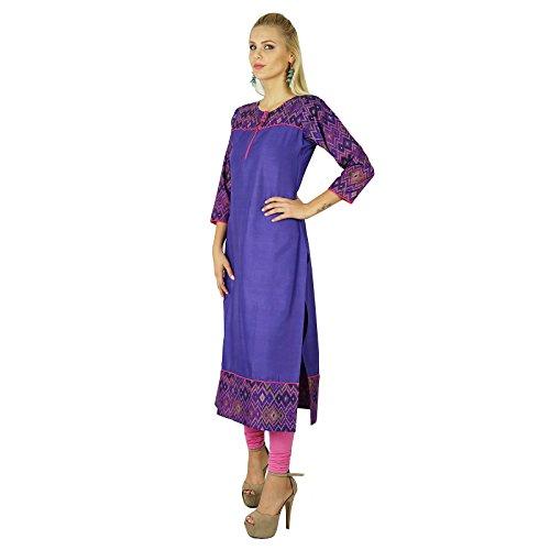Bimba Frauen Baumwolle lila Kurta Kurti ethnischen Ikat Print indische 3/4 Ärmel Top Tuni Lila