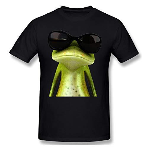 Cute Pink Piglet Frosch mit Sonnenbrille Herren Kurzarm T-Shirt Athletic Casual T-Shirts für Männer Trendy T-Shirt