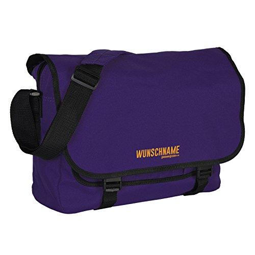 Retro Shoulder Messenger Bag/ Umhängetasche/ Schultasche/ mit ihrem persönlichen Namen - Violett - Goodman Design ® (Bag Retro Shoulder Messenger)