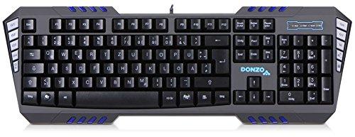 Preisvergleich Produktbild DONZO SI-855 programmierbare USB Gaming Tastatur beleuchtet / 7 Makro-Tasten mit bis zu 35 Makros / 115 Tasten / QWERTZ Layout / für PC mit Kabel / LED blau - Gamer Keyboard schwarz