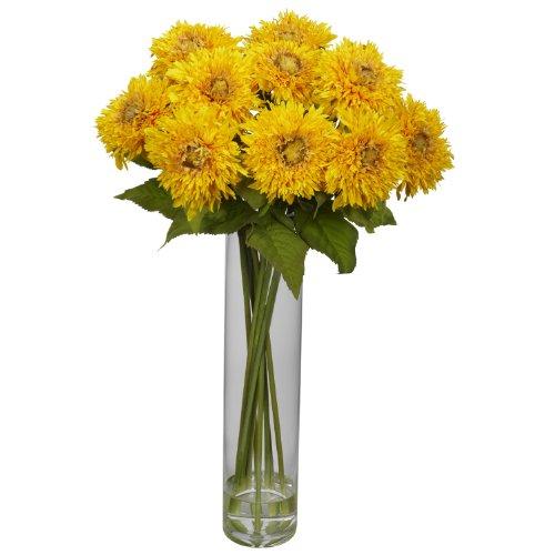Seide Sonnenblumen Faux (Fast natur 1246-yl Sonnenblume mit Zylinder Seide Blumenarrangement, gelb)