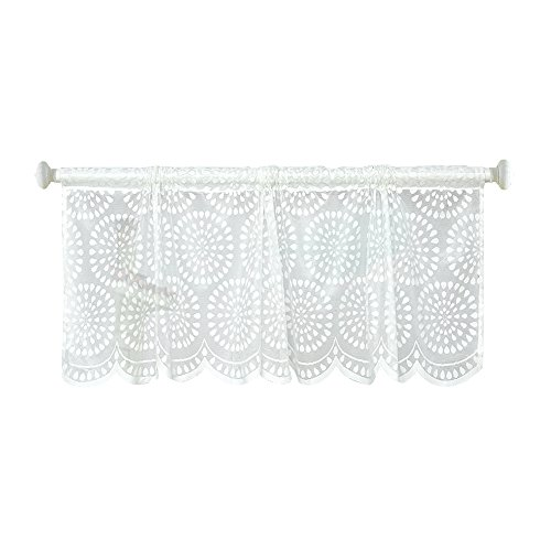Ibaste mesh pizzo voile con motivo kitchen decor tenda di finestra mantovana half tende, 45 * 150 cm floral