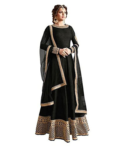 Omsai Fashion Women's Silk Semi-Stitched Gown (Mayablack_03_Black_Free Size)