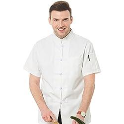 Dooxii Unisexo Mujeres Hombre Moda Verano Manga Corta Camisa de Cocinero Moda Hebilla de Tela Chaquetas de Chef Uniforme Cocina Restaurante Occidenta Blanco(Hebilla de Tela) 2XL