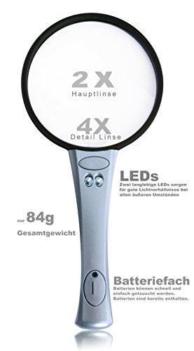 UniqueUnits Lupe mit Licht – Praktische und leicht Leselupe für Kinder und Senioren – 2x 4x Vergrößerungsglas - Handlupe, LED, Silber - 3